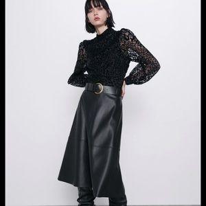 NWT Zara Animal Print Organza Blouse Black Medium